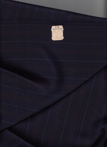 Navy blue striped suiting fabric