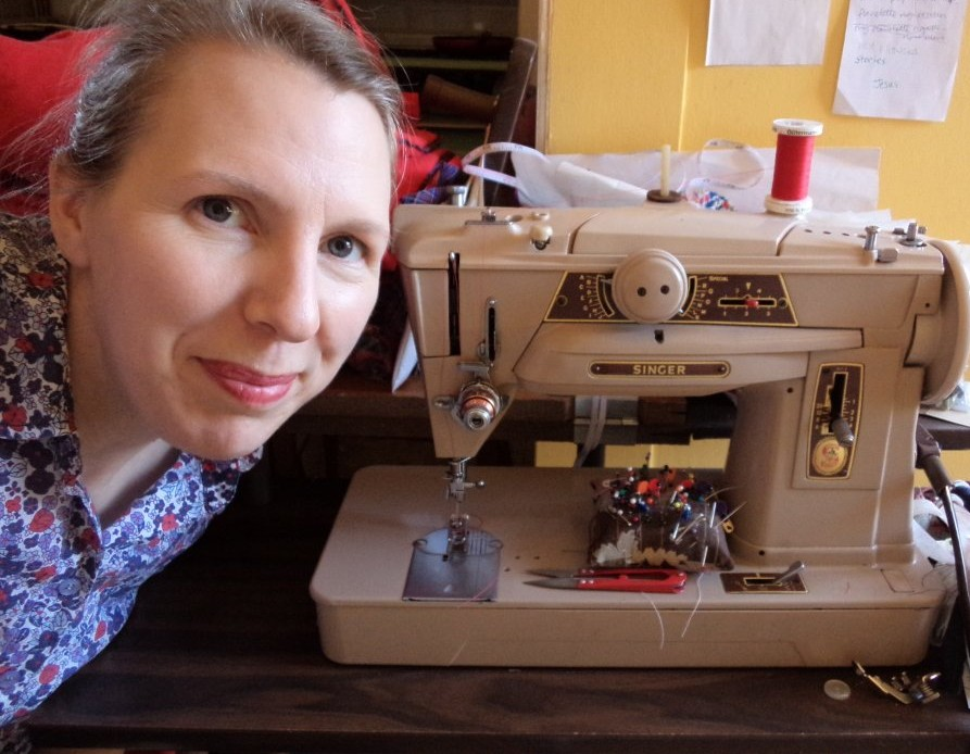 Liz Haywood pictured with sewing machine