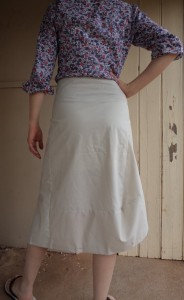 tweed skirt back view of toile