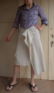 tweed skirt front view of toile