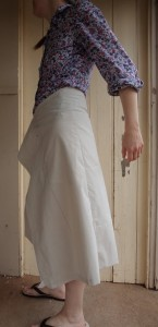 tweed skirt left side of toile