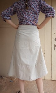 tweed skirt fitting back view with added waist darts