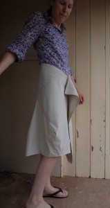 tweed skirt right view of toile