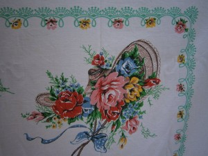 close up of Cath Kidston print tablecloth