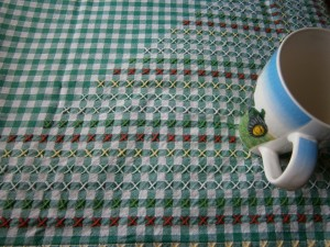 greeen embroidered gingham tablecloth