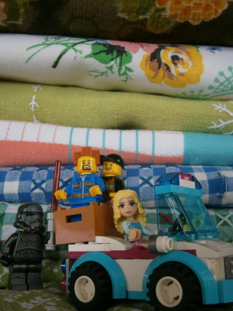 lego people with tablecloths
