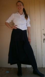 Liz Haywood modeling finished mystery skirt