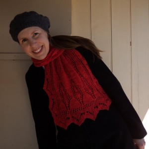 Liz Haywood modelling scarf
