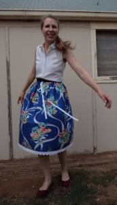 elastic waisted skirt doing a twirl