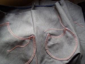 pockets stitched onto skirt