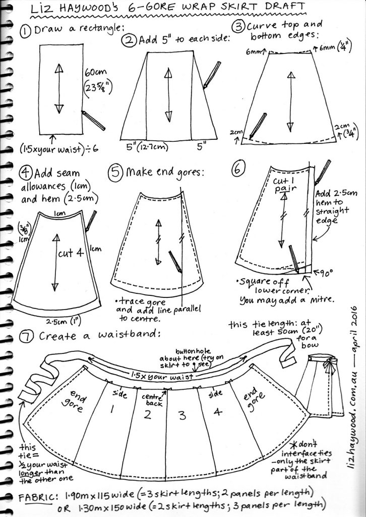 Free wrap skirt pattern summary