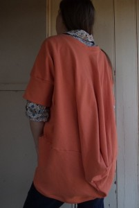 She Wears the Pants draped cardigan back view with drape