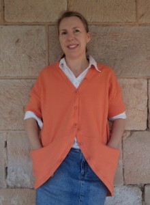 Cardigan front view modeled by Liz Haywood