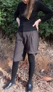 winter shorts finished -checking cuffed length