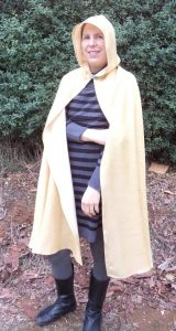 Free pattern dress ups cape gold cape on adult front view