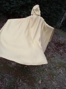 Free pattern dress ups cape gold cape on child back view with twirl