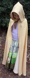 Free pattern dress ups cape gold cape on child front view