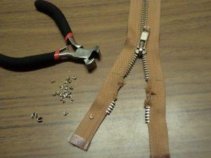 Shortening a metal zip step 3 remove metal teeth
