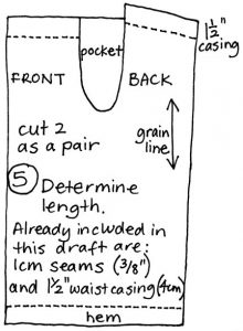 free pyjama pants pattern draft step 5