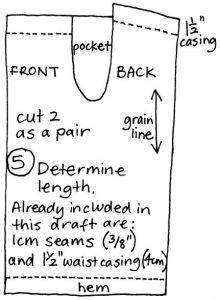 free pyjama pants pattern draft step 5