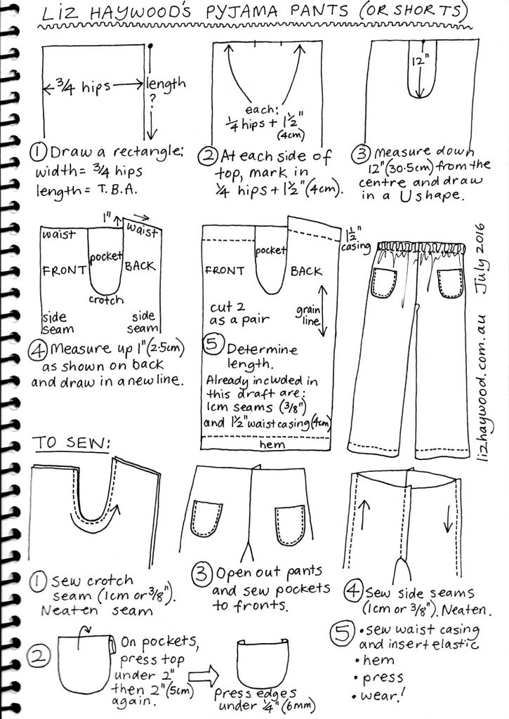 free pyjama pants pattern draft summary