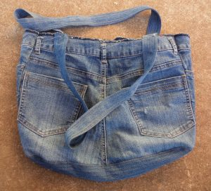 The Jeans Recycling Challenge back view of unlined bag