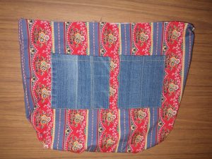 The Jeans Recycling Challenge bag interior patch pockets