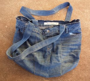The Jeans Recycling Challenge front view of unlined bag