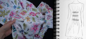 A Christmas Day Dress pink tropical floral fabric with sketch