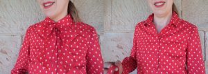 Free Pattern Pussycat Bow red blouse with and without bow