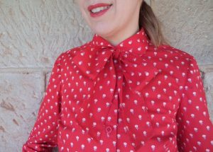 Free Pattern Pussycat Bow red blouse with bow