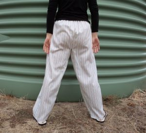 Zero waste trousers with gusset back view
