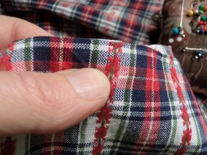 Like or loathe it matching checks, stripes and junctions holding thumbnail on stitching line