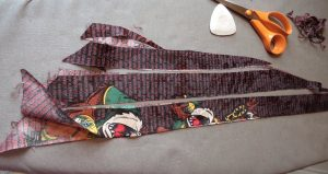 Beautiful trims from old neckties cut into strips