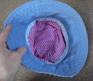 Free Pattern Make a Hat inside view blue hat