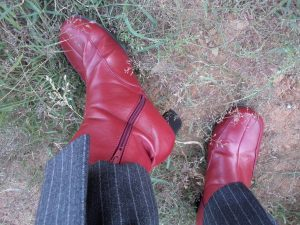 The Aquascutum suit red vinyl boots