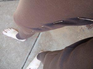 Zero waste leggings safety pinned seam