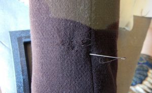 The Secret Science of Invisible Mending weft threads in progress