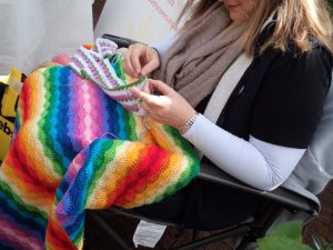 Knitting in Public rainbow crochet blanket