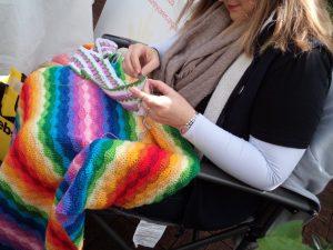 Knitting in Public rainbow crochet blanket