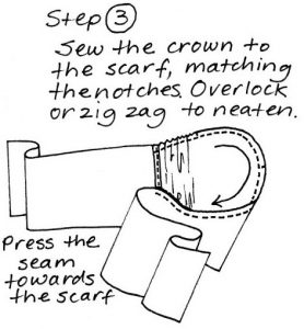 Free pattern Headscarf Step 3 sewing