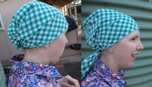 Free pattern Headscarf first sample