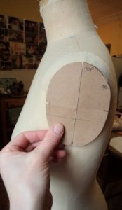 That old dressmakers model cardboard armhole template