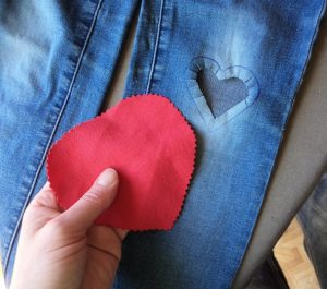 Visible mending heart patch cut out backing patch