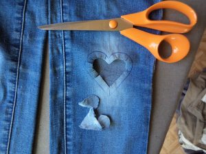 Visible mending heart patch cut shape