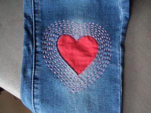 Visible mending heart patch finished