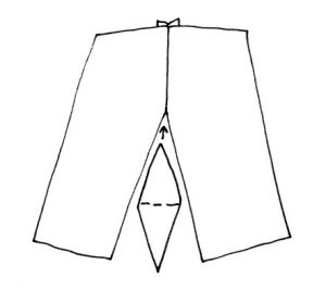 Experimental shorts sewing gusset in