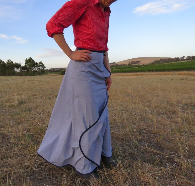 Free pattern 3 gore wrap maxi skirt 1