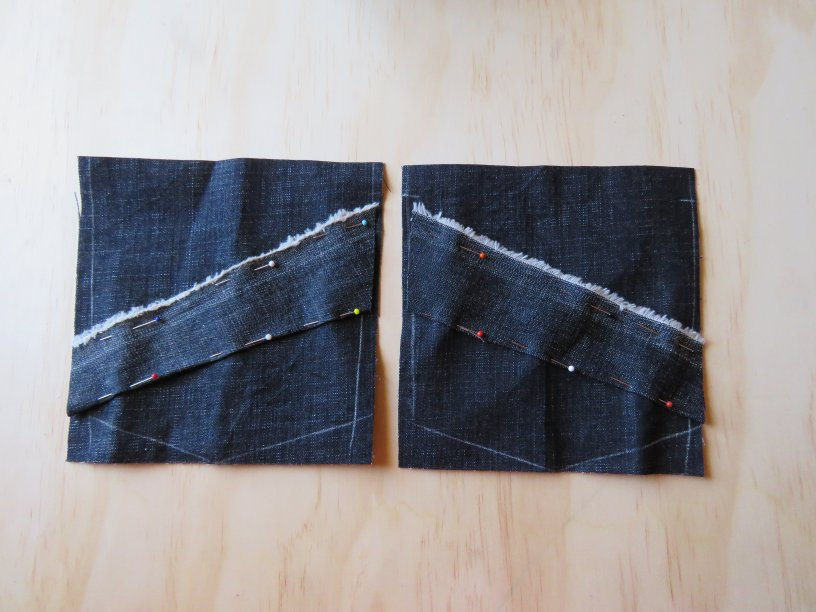 Zero waste jeans back pockets ready to sew