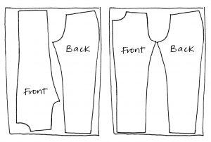 Zero waste jeans layouts for legs